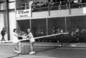 1977 Tracy Austin playing in the Pacific Coast Indoor Tennis Championships.